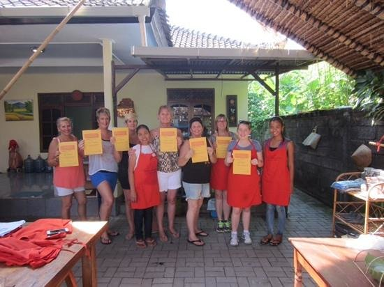 Caraway Cooking Class: our group with their certificates upon completion of the class