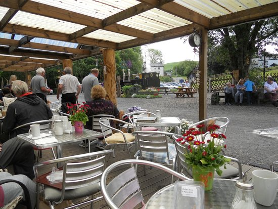 Vale of Rheidol Railway: View from the seating area of the cafe at Devil's Bridge