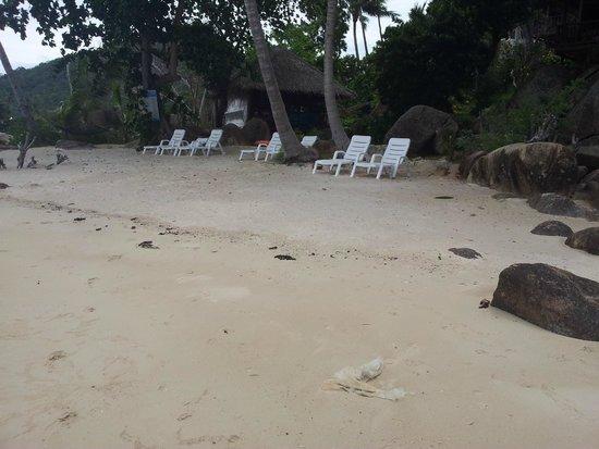 Lamai Bay View Resort: petite plage avec transats de l'hôtel et encore des déchets