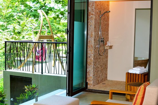 Andaz Peninsula Papagayo Resort : view of shower and second balcony from bedroom balcony of large Andaz suite