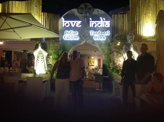 Love India: the front of thecrestaurant