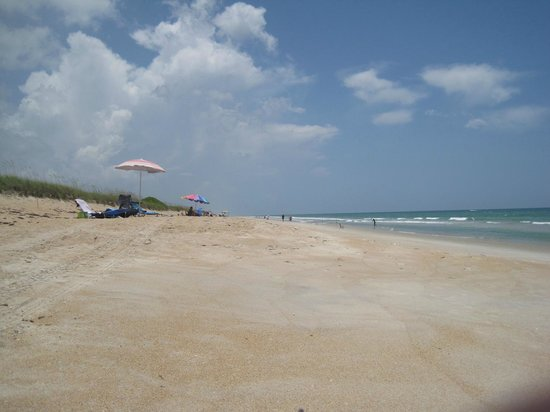 New Smyrna Beach, FL: Looking North along the shore from parking area #5