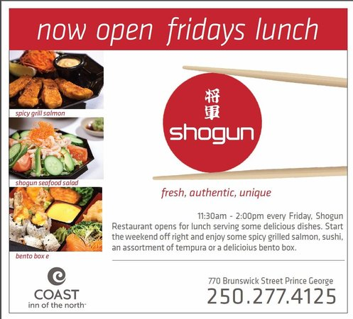 Shogun Japanese Steakhouse: Open every Friday for lunch