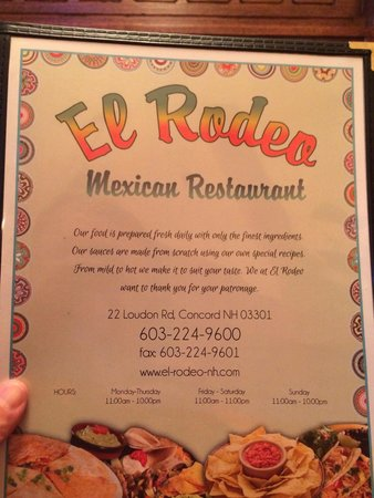 El Rodeo Mexican Restaurant : Menu