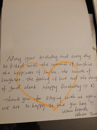 InterContinental Boston : Lovely handwritten Birthday note