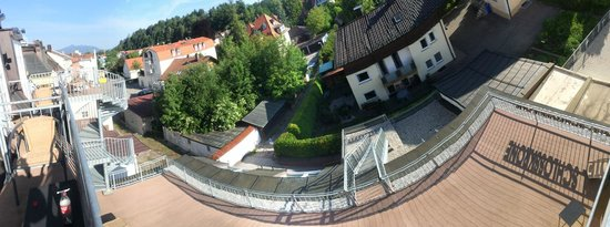 Hotel Schlosskrone : Artistic pano of view from balcony & shadow of hotel sign