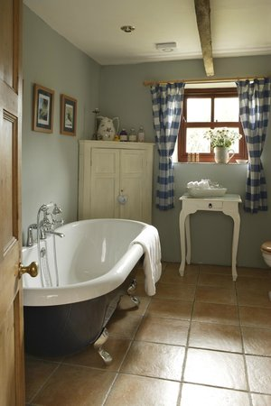 Ednovean Farm: The blue room en suite with roll top bath and shower