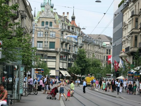 Bahnhofstrasse: An afternoon view.