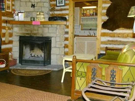 Trollhaugen Lodge, LLC: Log Cabin fire place