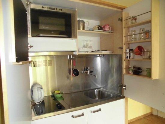 Hotel Les Bluets: espace cuisine de la chambre