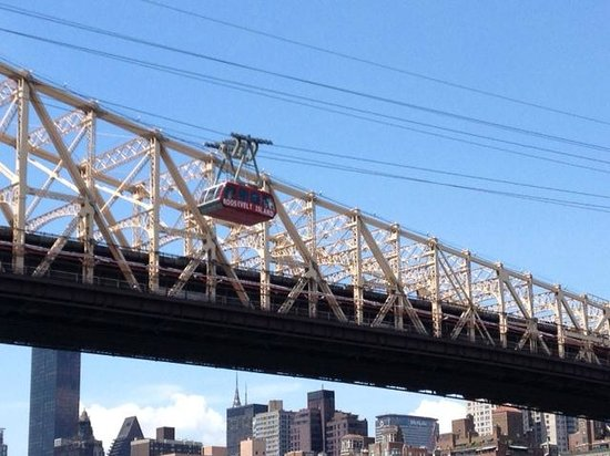 Roosevelt Island Aerial Tram: From the island, showing the tram en route.