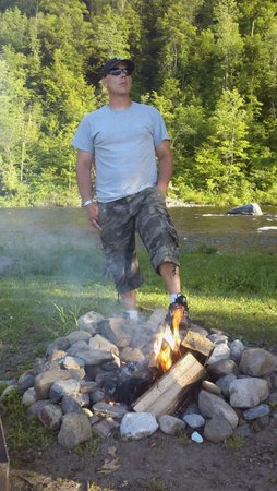Herkimer KOA Campground : Manly campfire picture