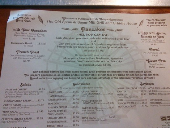 Old Spanish Sugar Mill : the outrageous menu