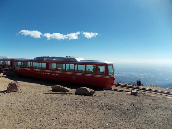 Pikes Peak Cog Railway: On top of the world - 14,110 feet.