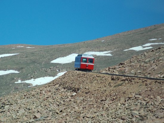 Pikes Peak Cog Railway: Train coming down through the Tundra.