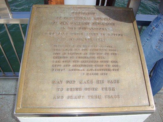 USS Arizona Memorial: Dedication Plaque