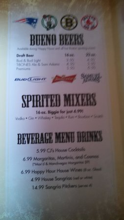 Cactus Jack's: Happy hour drinks...included during all Boston sports games