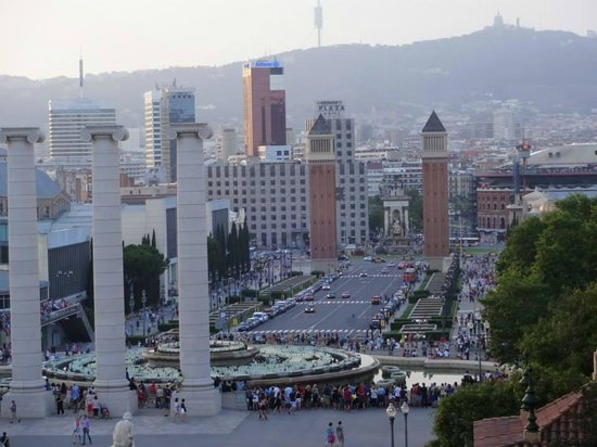 Catalonia Barcelona Plaza: view from fountain hotel on left hand side