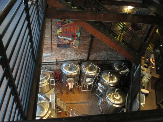 The Terminal Brewhouse : Looking down at the vats