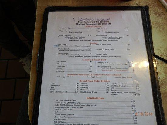 Menu Picture Of Hornback S Shawnee Restaurant Muskogee