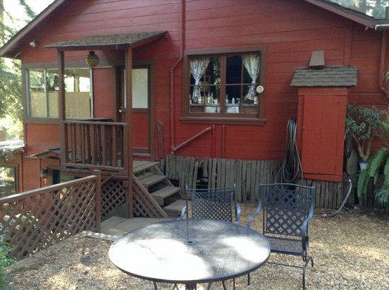 Riverside Campground and Cabins : supply room window, view from the fire pit