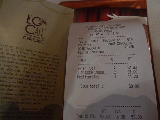 Le Grand Cafe Capucines: LE GRAND CAFÉ CAPUCINES - Addition