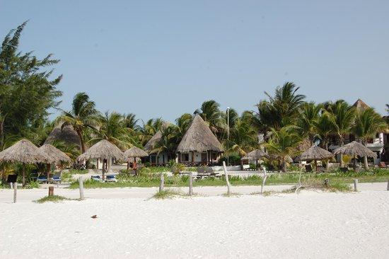Xaloc Resort: Hotel rooms/ palapas.