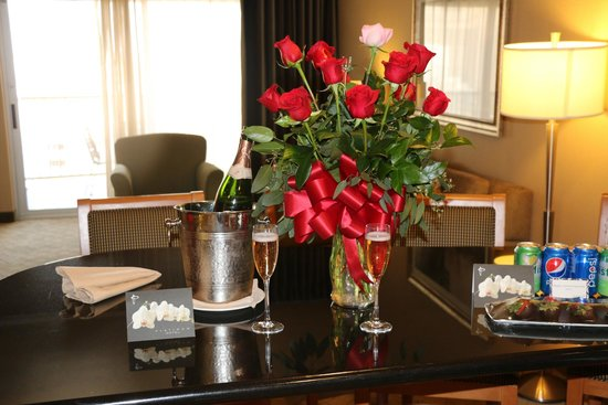 Roses and Champaign sent to our room - Picture of Platinum Hotel ...