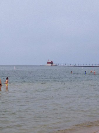 Grand Haven Lighthouse and Pier: View of the lighthouse from the beach