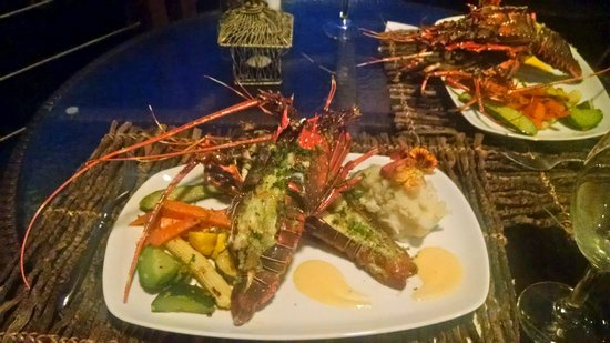 Tulemar Bungalows & Villas: Delicious lobster dinner by Marlon