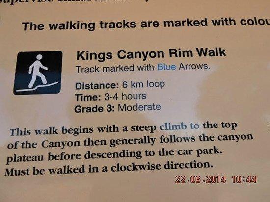 Kings Canyon Resort : Description of Rim Walk