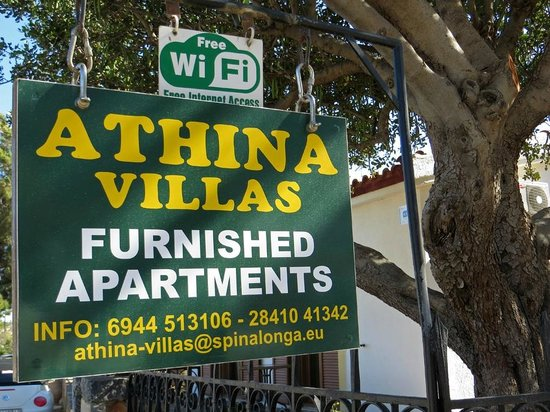 Athina Villas: Road side sign with details