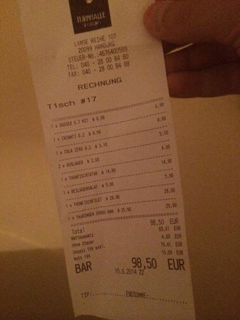 Turnhalle St. Georg : The receipt clearly saying 98.5 EUR
