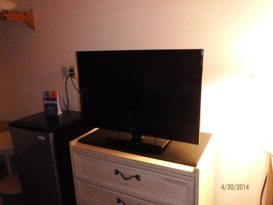 Super 8 Poplar Bluff Missouri : flatscreen tv and fridge