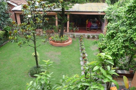 Shechen Guest House : View to garden restaurant