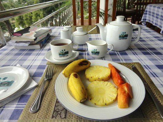 Kandy Hills Resort : Fruit plate and tea at breakfast