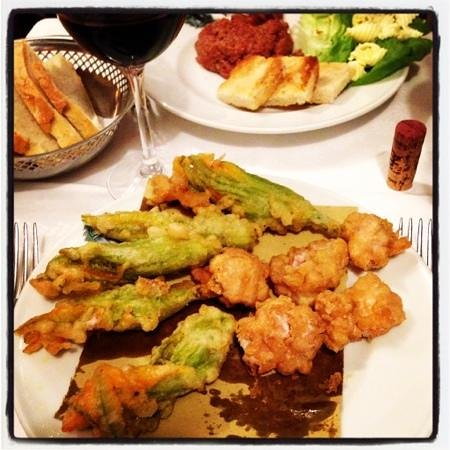 Cammillo Trattoria: Fried veal brain with zucchini flowers and Tuscan style beef tartare ...