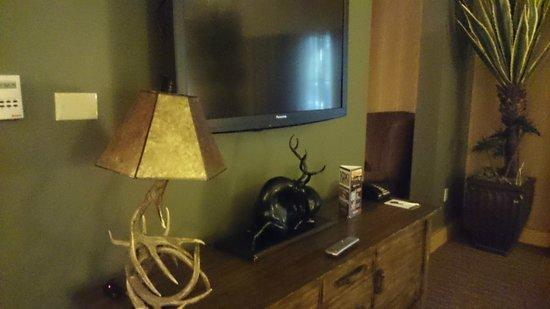 Silverton Hotel and Casino : テレビは日本製。鹿の置物あり。