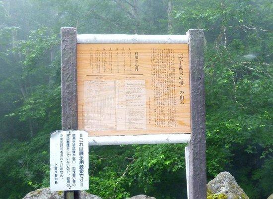 Fukiage Onsen: 効能を記した看板
