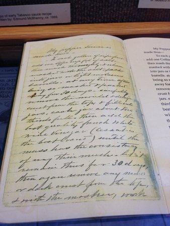 Tabasco Visitor Center and Pepper Sauce Factory : Recipe Original Handwriting