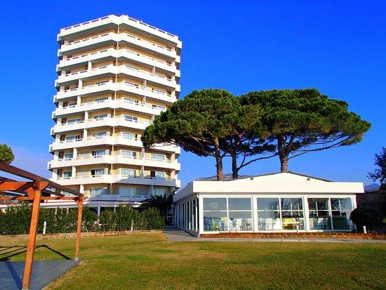 Hotel Torre del Sole: Отель и пищеблок с проросшими через крышу пиниями