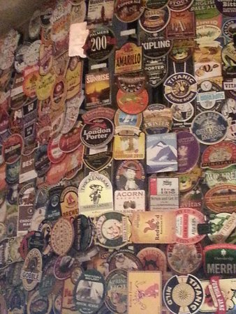 The Harp: Just a few beer mats on display