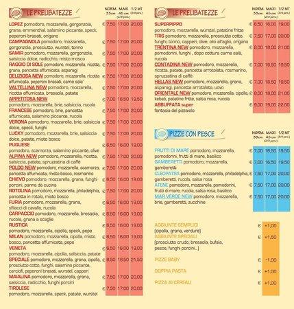 Pizza party: Nuovo listino