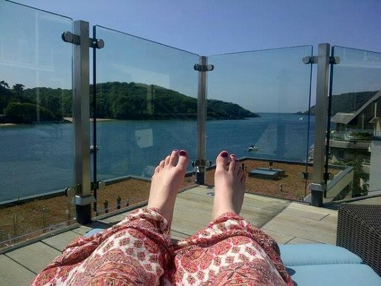Salcombe Harbour Hotel & Spa : Sunbathing with a view