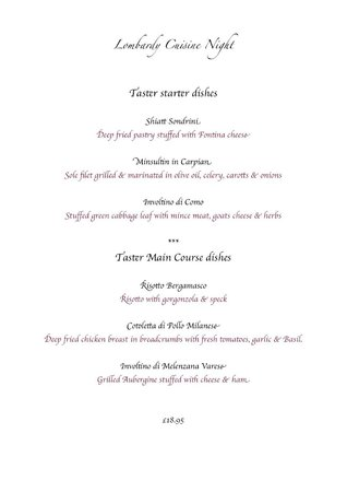 Martini Restaurant: Sample menu from our cuisine night