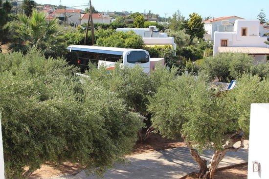 Creta Maris Beach Resort: Туристические автобусы катаются днем и вечером