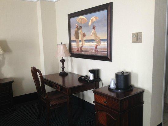Resorts Casino Hotel : Desk area with fridge