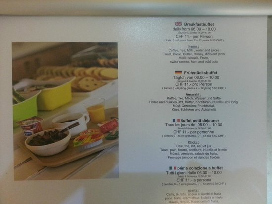 ibis budget Luzern City: breakfast menu