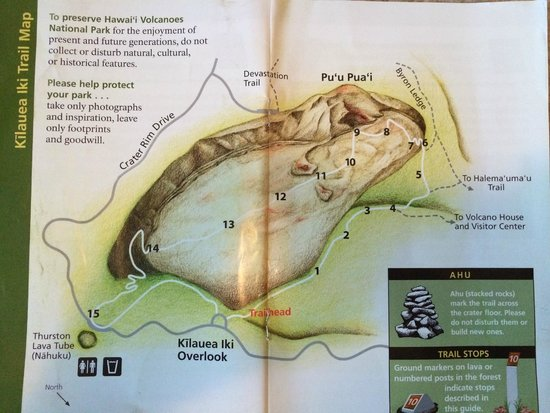 Kilauea Iki Trail: map from trail guide