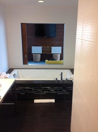Aloft Asheville Downtown: soaking tub from shower through to living area